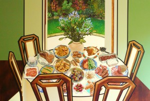 Doyle Family Feast acrylic on canvas 72x48 SOLD (representational)