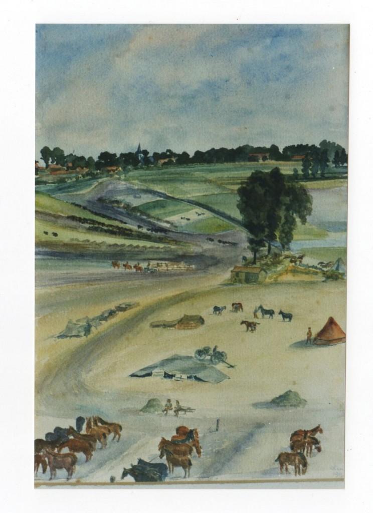 FAWCETT, Reg. War Painting. Baizieu, Somme 5 Aug 1916. Tim Brown