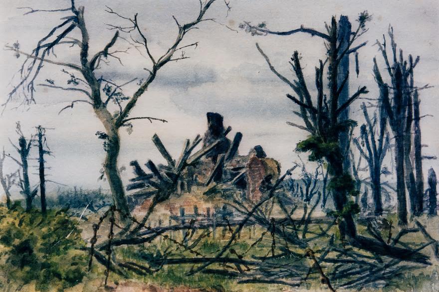 FAWCETT, Reg. War painting Contalmaison Churh. The Somme 13 Oct 1916