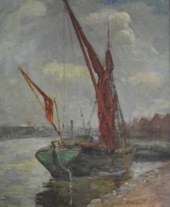 VARLEY, Illingworth. Moored Sailing Boat